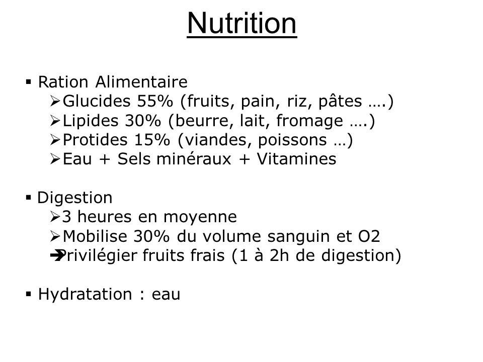 Nutrition Ration Alimentaire Glucides 55% (fruits, pain, riz, pâtes ….) Lipides 30% (beurre, lait, fromage ….) Protides 15% (viandes, poissons …) Eau