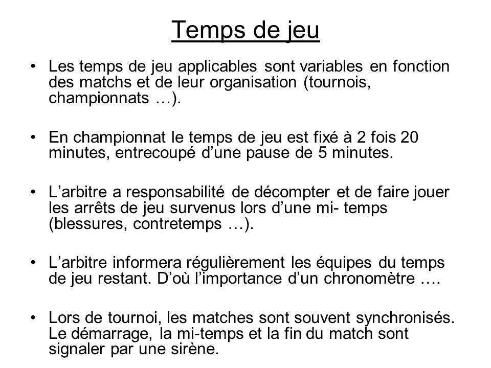 Temps de jeu Les temps de jeu applicables sont variables en fonction des matchs et de leur organisation (tournois, championnats …). En championnat le