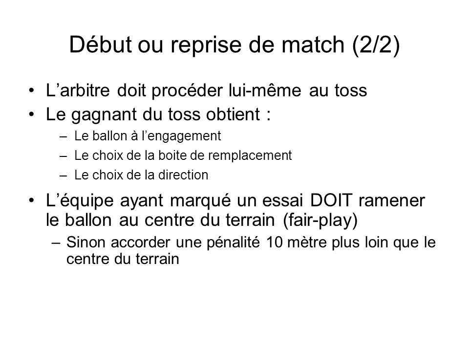 Début ou reprise de match (2/2) Larbitre doit procéder lui-même au toss Le gagnant du toss obtient : Léquipe ayant marqué un essai DOIT ramener le bal