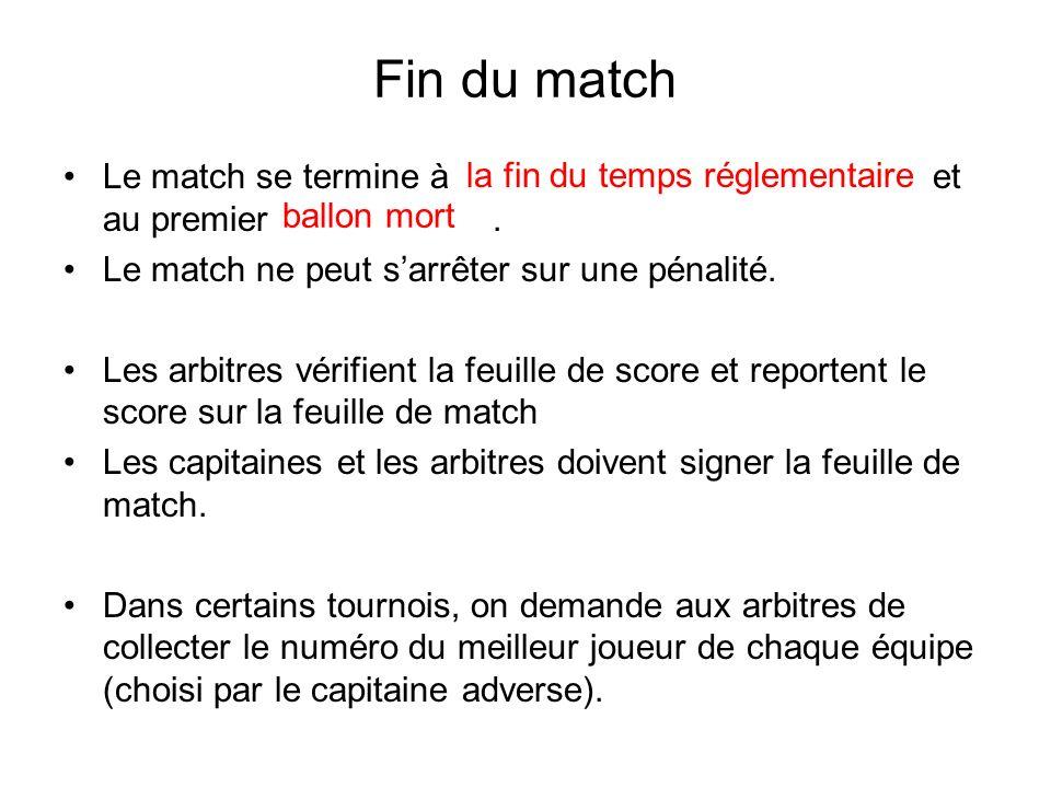 Fin du match Le match se termine à et au premier. Le match ne peut sarrêter sur une pénalité. Les arbitres vérifient la feuille de score et reportent