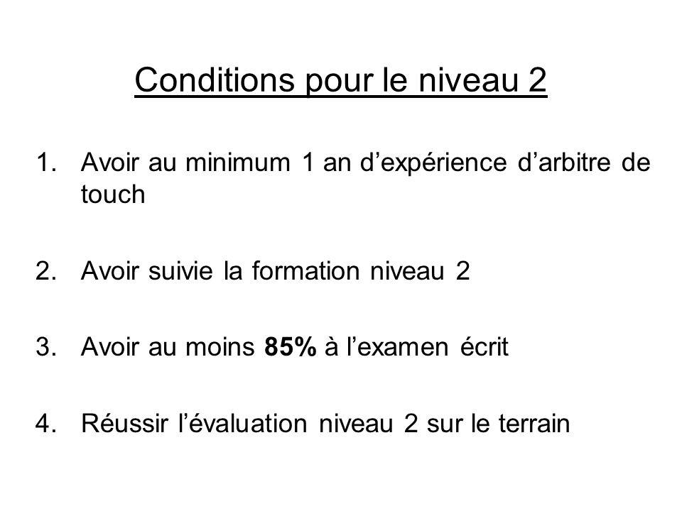 Conditions pour le niveau 2 1.Avoir au minimum 1 an dexpérience darbitre de touch 2.Avoir suivie la formation niveau 2 3.Avoir au moins 85% à lexamen