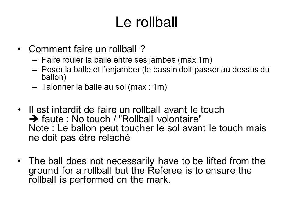Le rollball Comment faire un rollball ? –Faire rouler la balle entre ses jambes (max 1m) –Poser la balle et lenjamber (le bassin doit passer au dessus