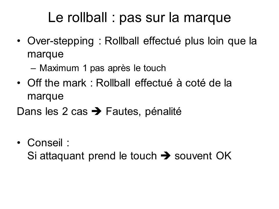 Le rollball : pas sur la marque Over-stepping : Rollball effectué plus loin que la marque –Maximum 1 pas après le touch Off the mark : Rollball effect