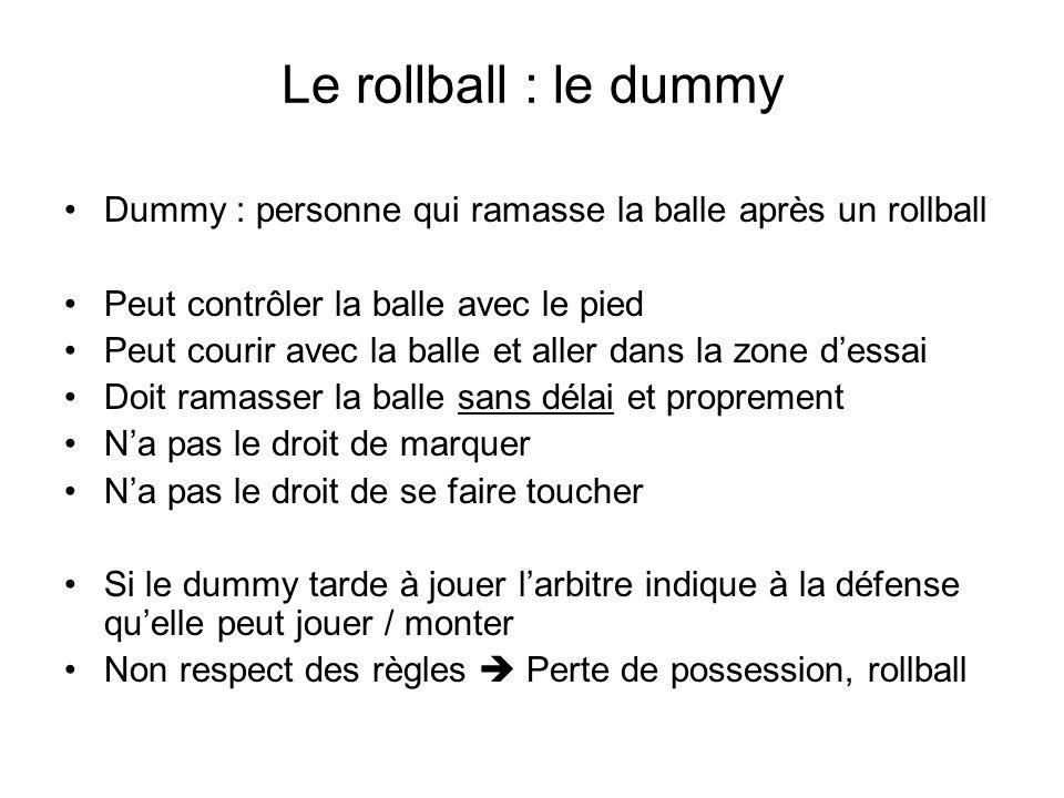 Le rollball : le dummy Dummy : personne qui ramasse la balle après un rollball Peut contrôler la balle avec le pied Peut courir avec la balle et aller