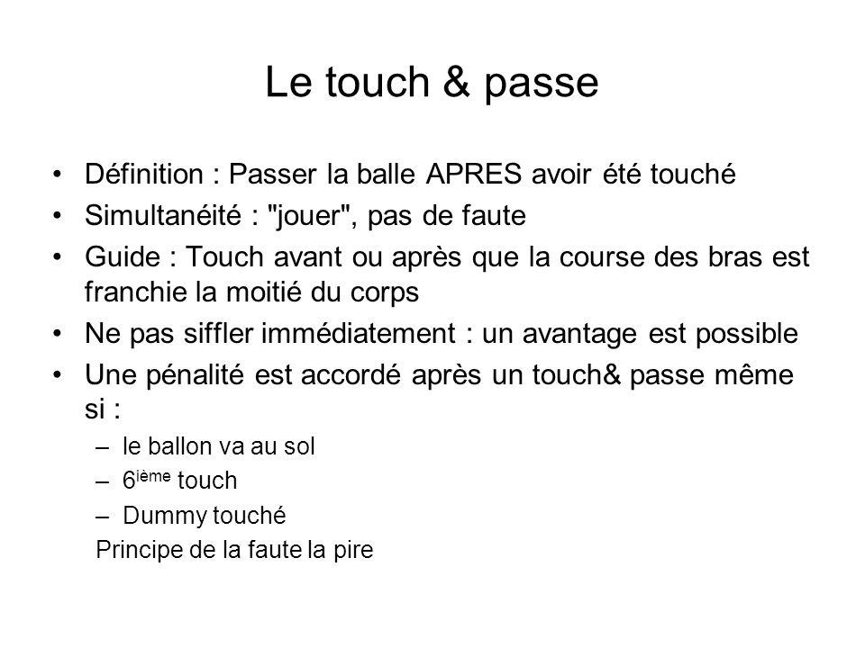 Le touch & passe Définition : Passer la balle APRES avoir été touché Simultanéité :