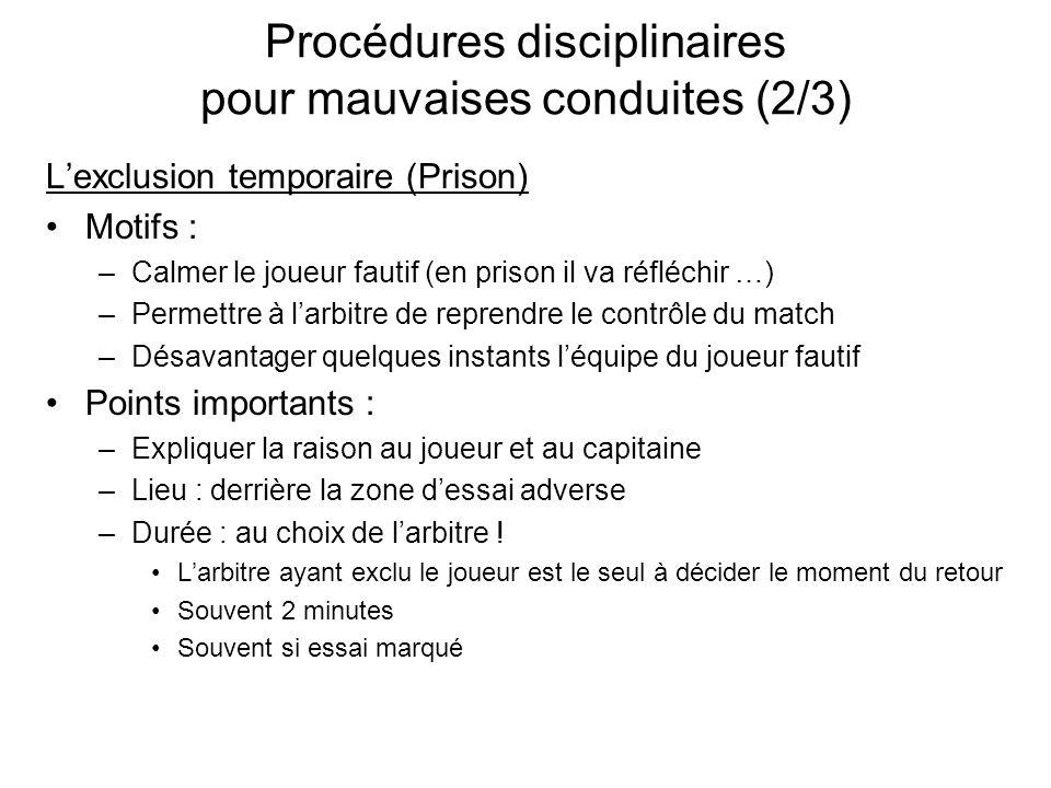 Procédures disciplinaires pour mauvaises conduites (2/3) Lexclusion temporaire (Prison) Motifs : –Calmer le joueur fautif (en prison il va réfléchir …