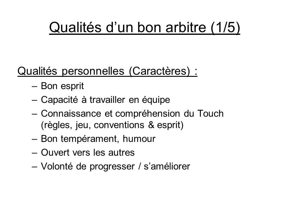 Qualités dun bon arbitre (1/5) Qualités personnelles (Caractères) : –Bon esprit –Capacité à travailler en équipe –Connaissance et compréhension du Tou