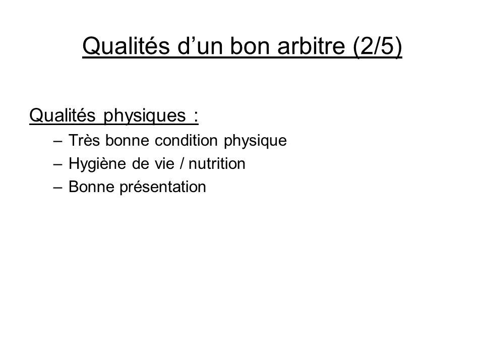 Qualités dun bon arbitre (2/5) Qualités physiques : –Très bonne condition physique –Hygiène de vie / nutrition –Bonne présentation