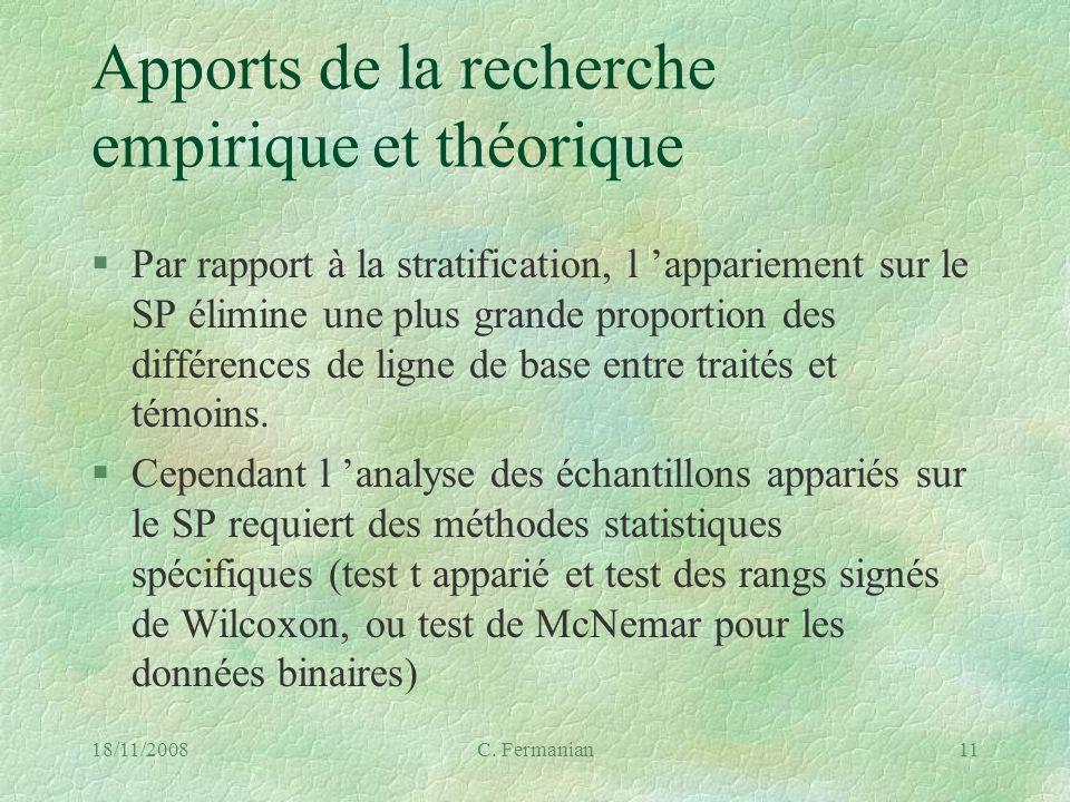 18/11/2008C. Fermanian11 Apports de la recherche empirique et théorique §Par rapport à la stratification, l appariement sur le SP élimine une plus gra