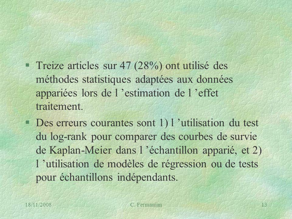 18/11/2008C. Fermanian13 §Treize articles sur 47 (28%) ont utilisé des méthodes statistiques adaptées aux données appariées lors de l estimation de l