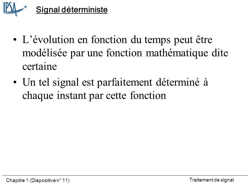 Traitement de signal Chapitre 1 (Diapositive n° 11) Signal déterministe Lévolution en fonction du temps peut être modélisée par une fonction mathémati