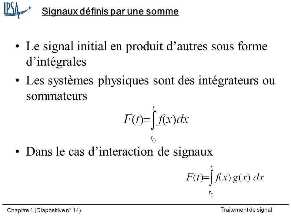 Traitement de signal Chapitre 1 (Diapositive n° 14) Signaux définis par une somme Le signal initial en produit dautres sous forme dintégrales Les syst