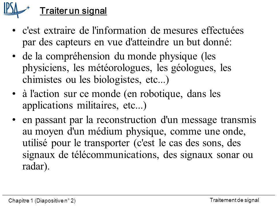 Traitement de signal Chapitre 1 (Diapositive n° 13) Signal à temps discret La variable de la fonction ne peut prendre que des valeurs entières k Pour la variable temps, k représente un multiple dune durée T qui permet léchantillonnage et la quantification des signaux analogiques