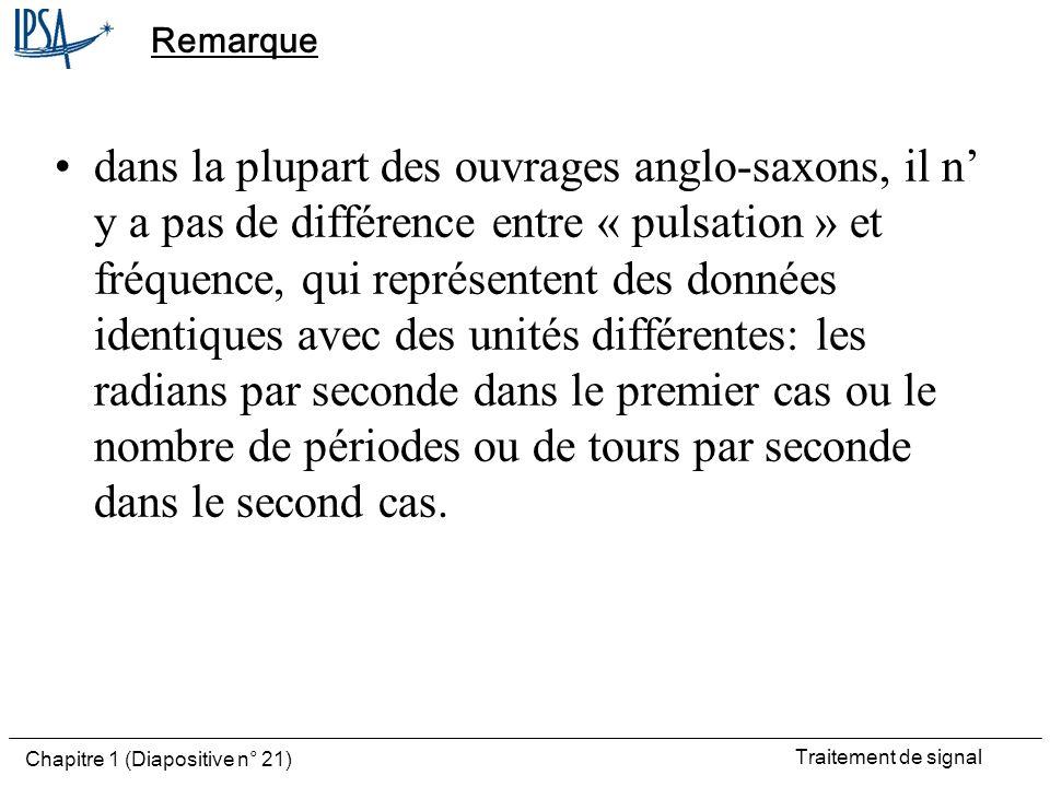 Traitement de signal Chapitre 1 (Diapositive n° 21) Remarque dans la plupart des ouvrages anglo-saxons, il n y a pas de différence entre « pulsation »