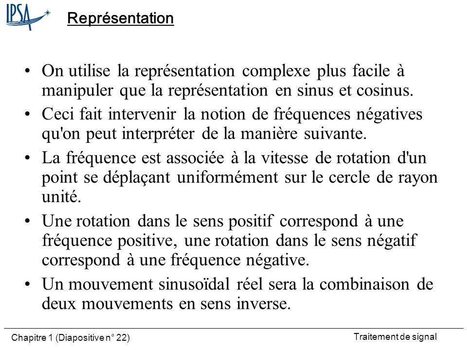 Traitement de signal Chapitre 1 (Diapositive n° 22) Représentation On utilise la représentation complexe plus facile à manipuler que la représentation