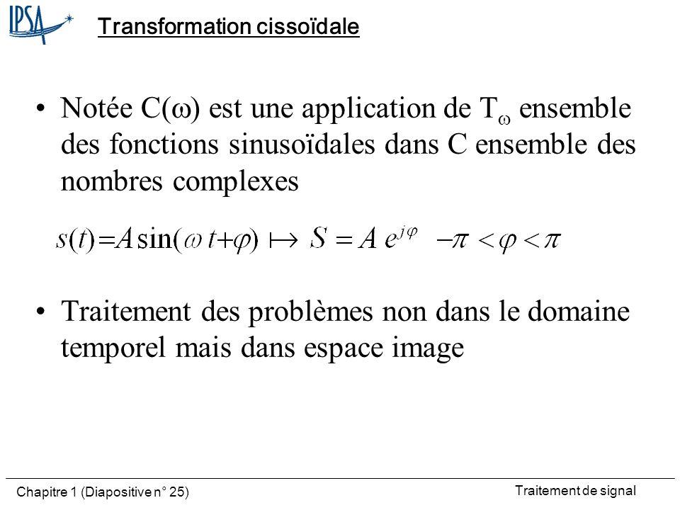Traitement de signal Chapitre 1 (Diapositive n° 25) Transformation cissoïdale Notée C( ) est une application de T ensemble des fonctions sinusoïdales