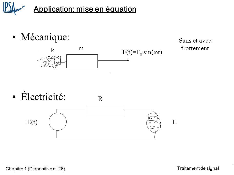 Traitement de signal Chapitre 1 (Diapositive n° 26) Application: mise en équation Mécanique: Électricité: m k F(t)=F 0 sin( t) E(t) R L Sans et avec f