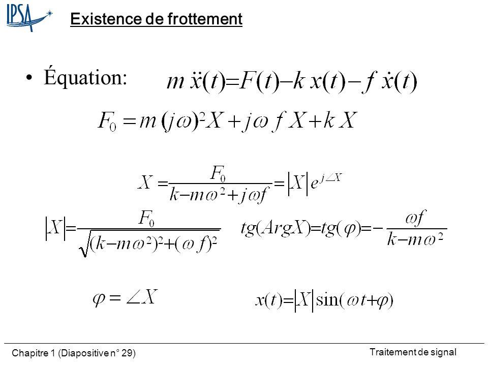 Traitement de signal Chapitre 1 (Diapositive n° 29) Existence de frottement Équation: