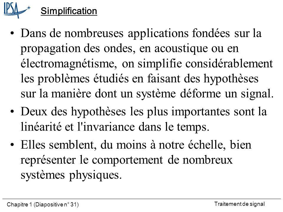 Traitement de signal Chapitre 1 (Diapositive n° 31) Simplification Dans de nombreuses applications fondées sur la propagation des ondes, en acoustique