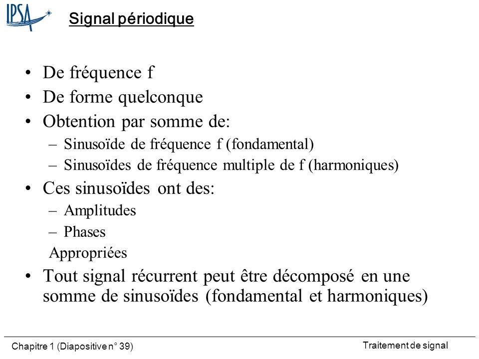 Traitement de signal Chapitre 1 (Diapositive n° 39) Signal périodique De fréquence f De forme quelconque Obtention par somme de: –Sinusoïde de fréquen