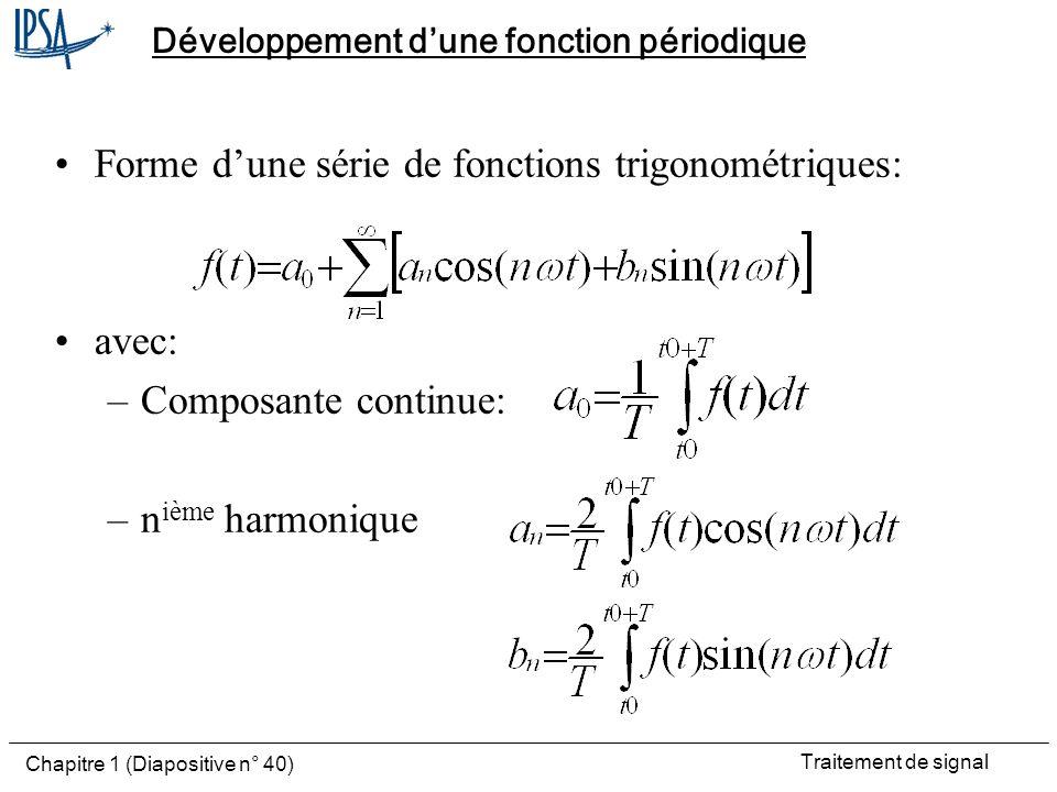 Traitement de signal Chapitre 1 (Diapositive n° 40) Développement dune fonction périodique Forme dune série de fonctions trigonométriques: avec: –Comp