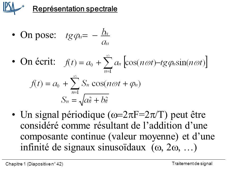 Traitement de signal Chapitre 1 (Diapositive n° 42) Représentation spectrale On pose: On écrit: Un signal périodique ( F= ) peut être considéré comme