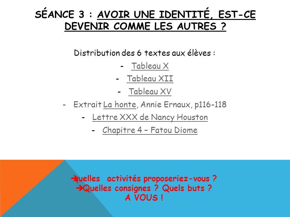 SÉANCE 3 : AVOIR UNE IDENTITÉ, EST-CE DEVENIR COMME LES AUTRES ? Distribution des 6 textes aux élèves : -Tableau XTableau X -Tableau XIITableau XII -T