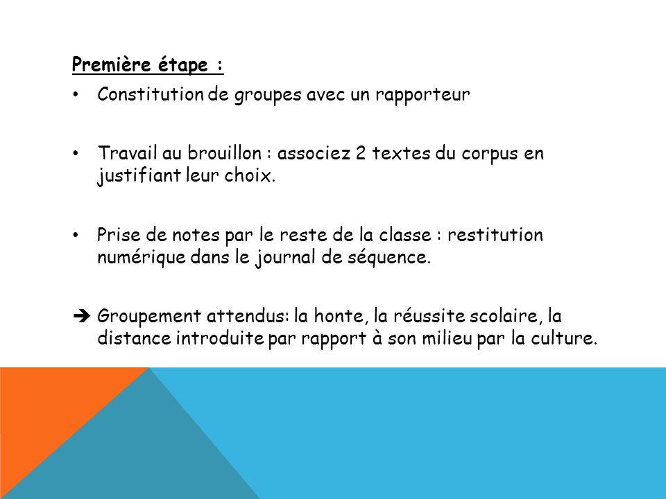Première étape : Constitution de groupes avec un rapporteur Travail au brouillon : associez 2 textes du corpus en justifiant leur choix. Prise de note