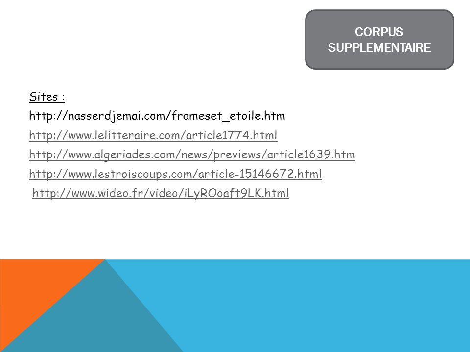 Sites : http://nasserdjemai.com/frameset_etoile.htm http://www.lelitteraire.com/article1774.html http://www.algeriades.com/news/previews/article1639.h