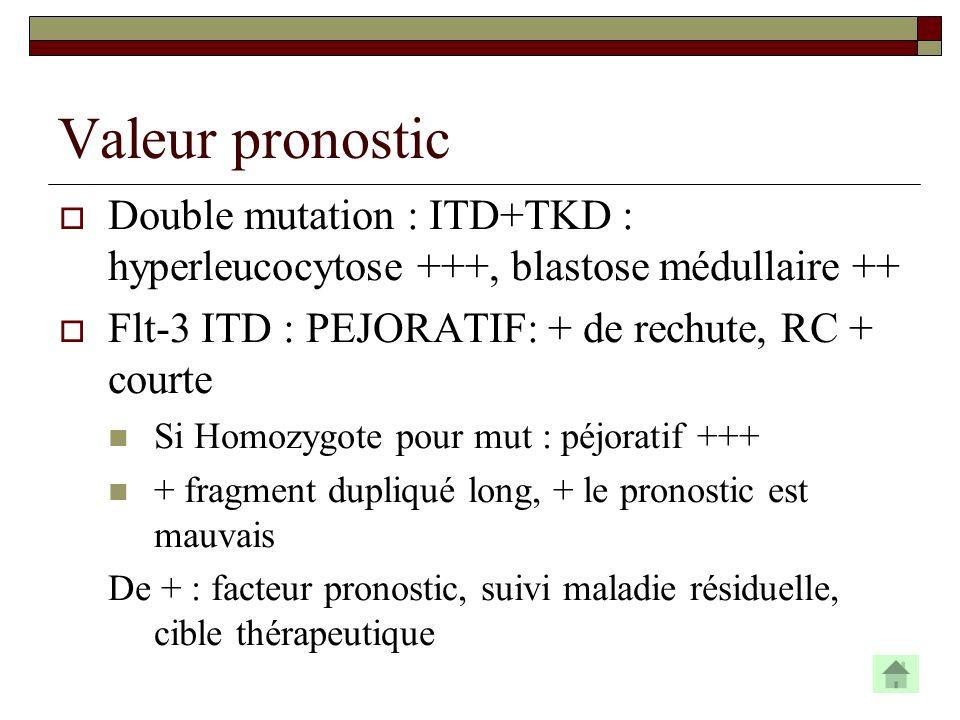 Valeur pronostic Double mutation : ITD+TKD : hyperleucocytose +++, blastose médullaire ++ Flt-3 ITD : PEJORATIF: + de rechute, RC + courte Si Homozygo