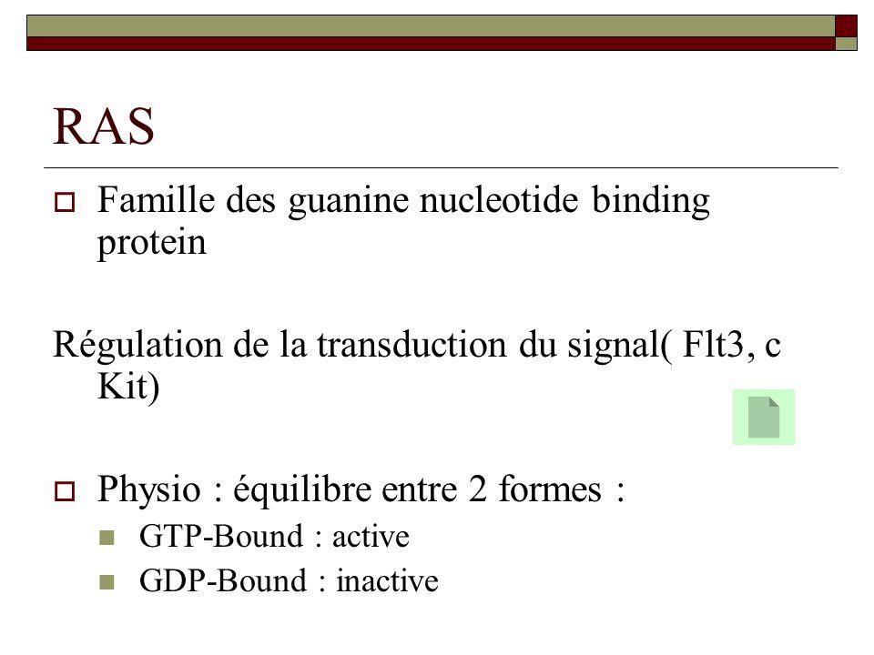 RAS Famille des guanine nucleotide binding protein Régulation de la transduction du signal( Flt3, c Kit) Physio : équilibre entre 2 formes : GTP-Bound