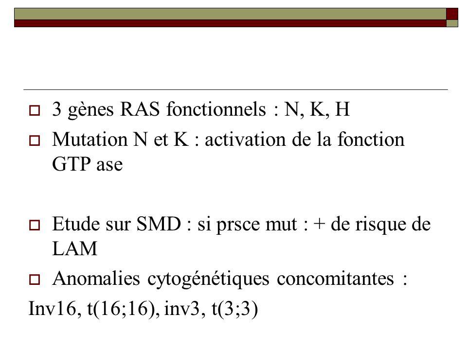 3 gènes RAS fonctionnels : N, K, H Mutation N et K : activation de la fonction GTP ase Etude sur SMD : si prsce mut : + de risque de LAM Anomalies cyt