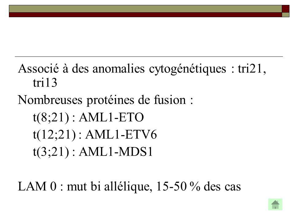 Associé à des anomalies cytogénétiques : tri21, tri13 Nombreuses protéines de fusion : t(8;21) : AML1-ETO t(12;21) : AML1-ETV6 t(3;21) : AML1-MDS1 LAM