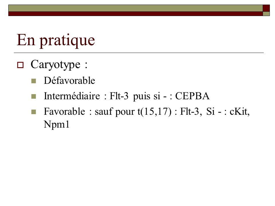 En pratique Caryotype : Défavorable Intermédiaire : Flt-3 puis si - : CEPBA Favorable : sauf pour t(15,17) : Flt-3, Si - : cKit, Npm1