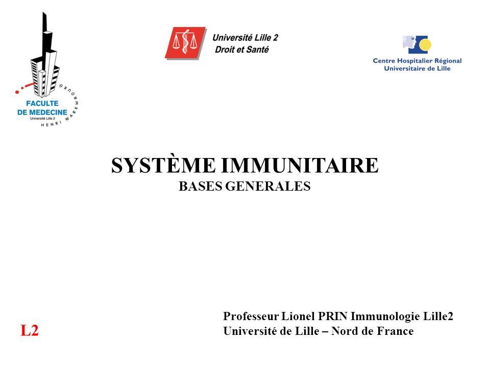 SYSTÈME IMMUNITAIRE BASES GENERALES L2 Professeur Lionel PRIN Immunologie Lille2 Université de Lille – Nord de France