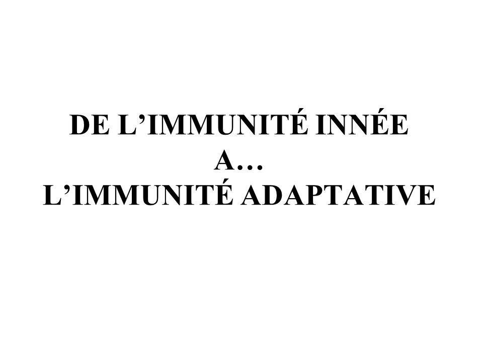 DE LIMMUNITÉ INNÉE A… LIMMUNITÉ ADAPTATIVE