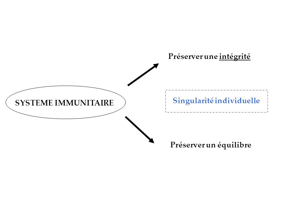 Préserver une intégrité Préserver un équilibre SYSTEME IMMUNITAIRE Singularité individuelle