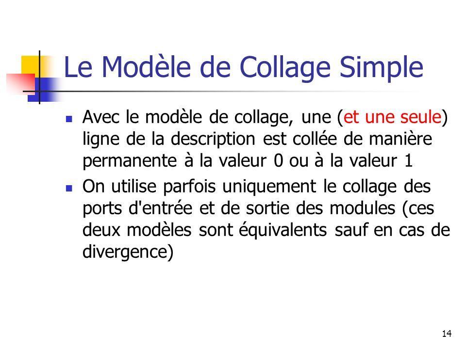 Le Modèle de Collage Simple Avec le modèle de collage, une (et une seule) ligne de la description est collée de manière permanente à la valeur 0 ou à