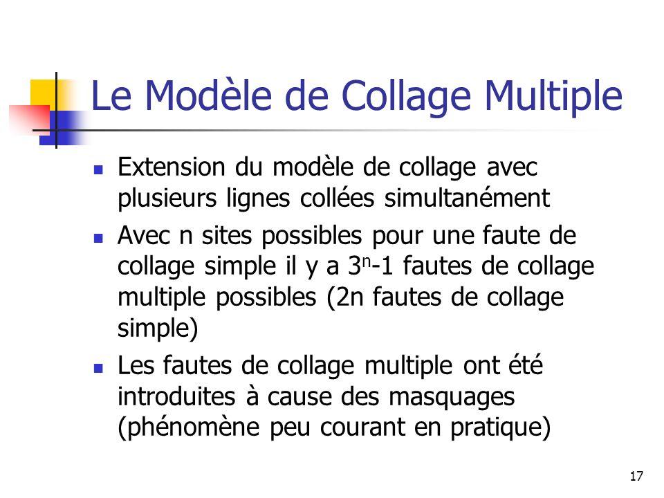 Le Modèle de Collage Multiple Extension du modèle de collage avec plusieurs lignes collées simultanément Avec n sites possibles pour une faute de coll