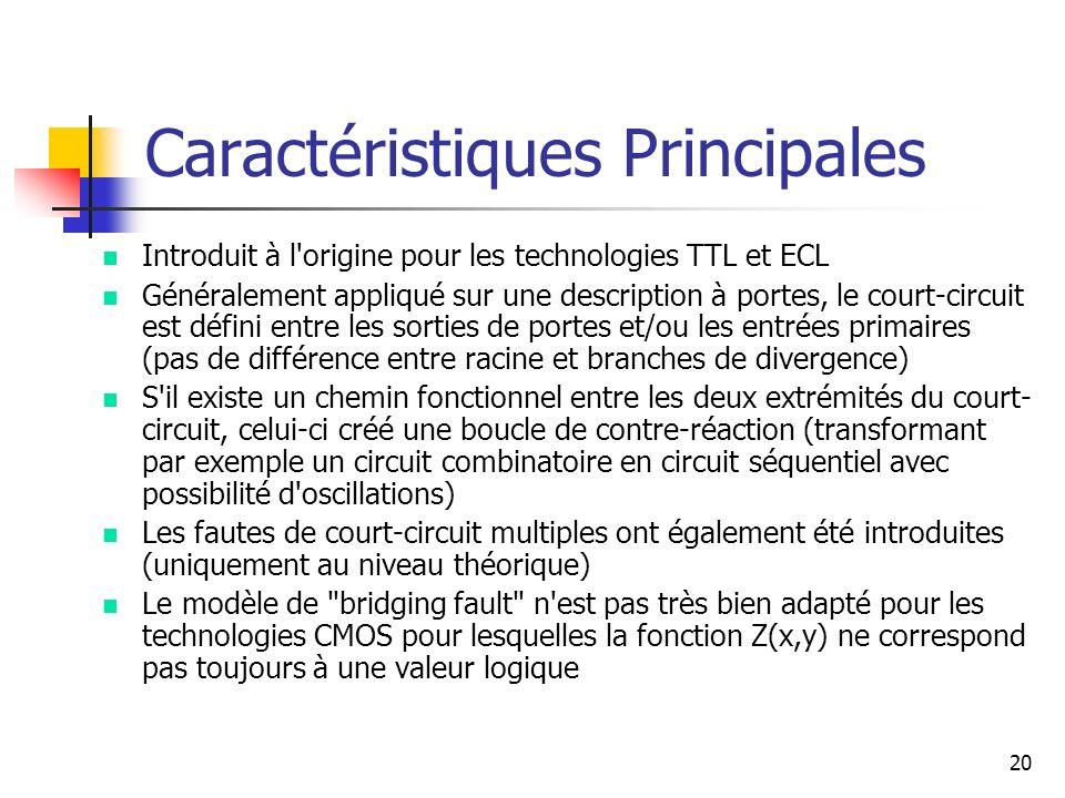Caractéristiques Principales n Introduit à l'origine pour les technologies TTL et ECL n Généralement appliqué sur une description à portes, le court-c