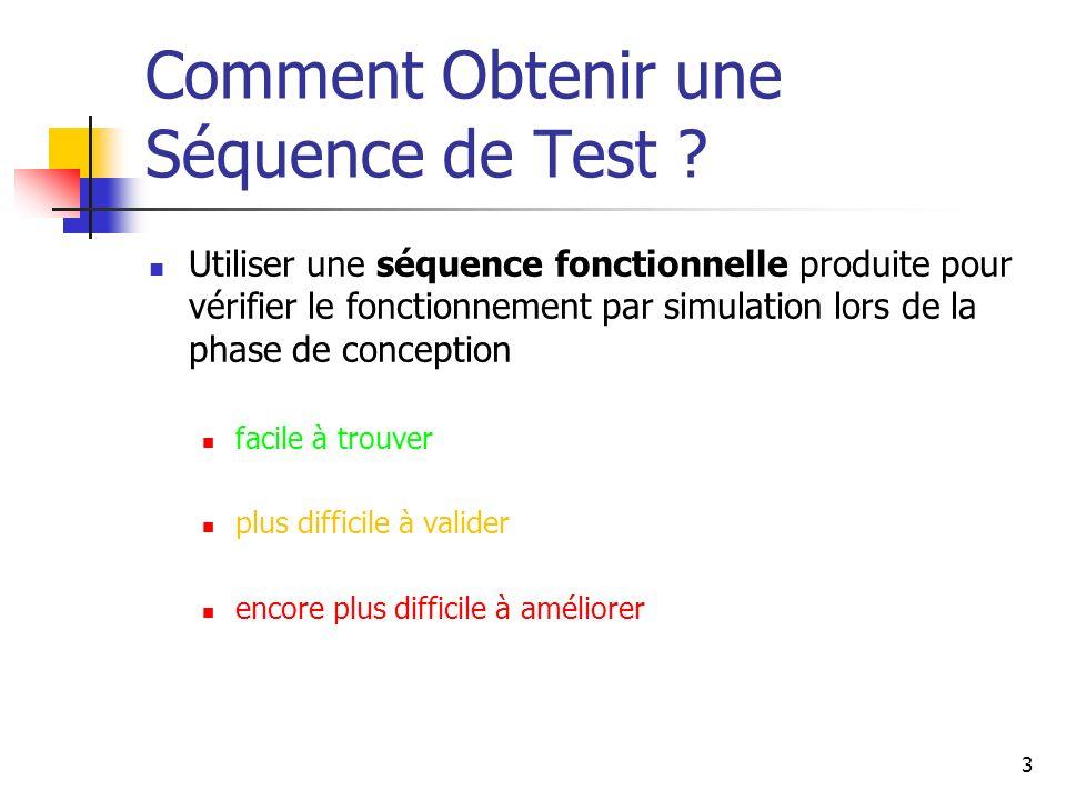 Comment Obtenir une Séquence de Test ? Utiliser une séquence fonctionnelle produite pour vérifier le fonctionnement par simulation lors de la phase de