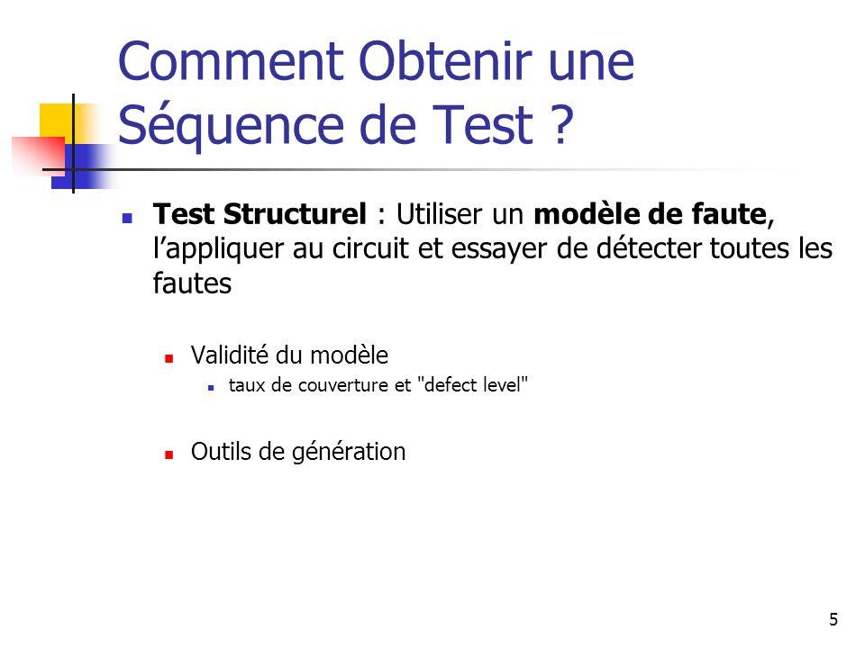 Comment Obtenir une Séquence de Test ? Test Structurel : Utiliser un modèle de faute, lappliquer au circuit et essayer de détecter toutes les fautes V