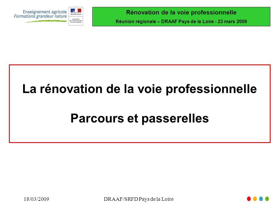 Rénovation de la voie professionnelle Réunion régionale – DRAAF Pays de la Loire - 23 mars 2009 18/03/2009DRAAF/SRFD Pays de la Loire La rénovation de la voie professionnelle Parcours et passerelles