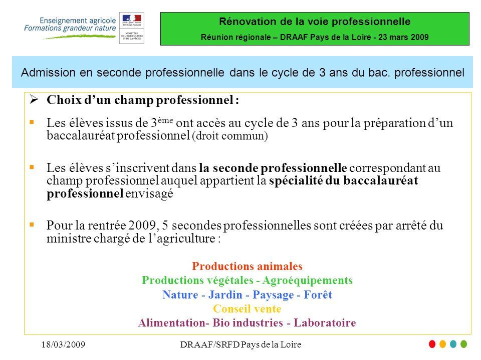 Rénovation de la voie professionnelle Réunion régionale – DRAAF Pays de la Loire - 23 mars 2009 18/03/2009DRAAF/SRFD Pays de la Loire Admission en seconde professionnelle dans le cycle de 3 ans du bac.