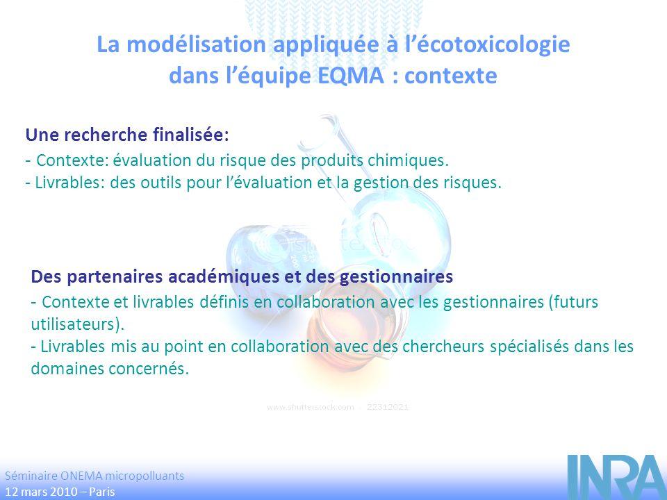La modélisation appliquée à lécotoxicologie dans léquipe EQMA : contexte Une recherche finalisée: - Contexte: évaluation du risque des produits chimiq