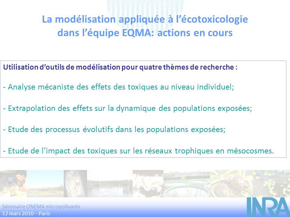 Utilisation doutils de modélisation pour quatre thèmes de recherche : - Analyse mécaniste des effets des toxiques au niveau individuel; - Extrapolatio