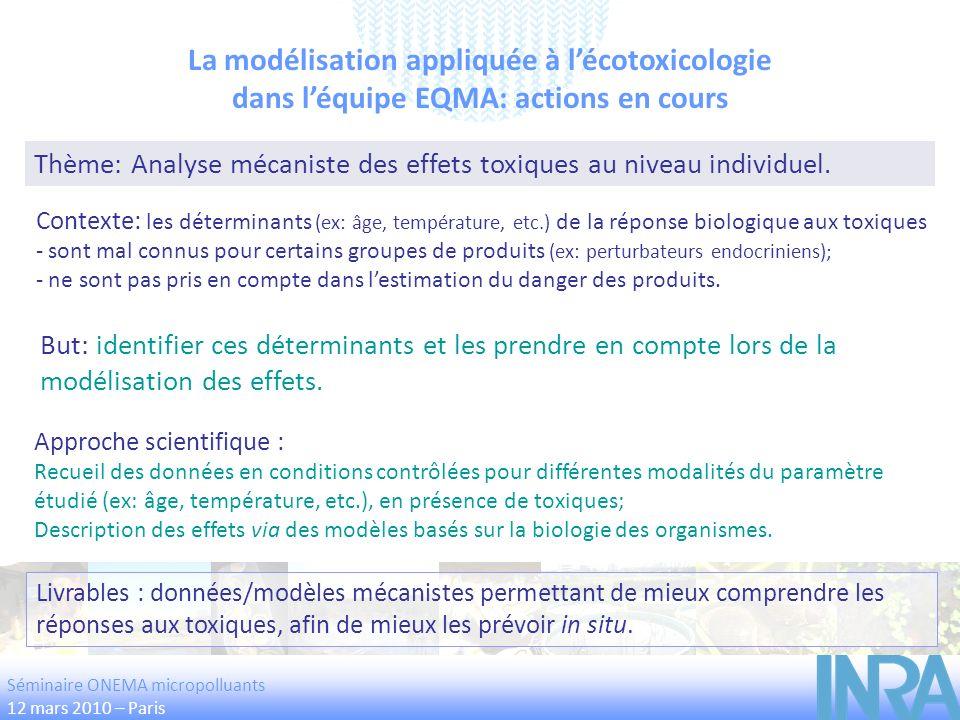 La modélisation appliquée à lécotoxicologie dans léquipe EQMA: actions en cours But: identifier ces déterminants et les prendre en compte lors de la m