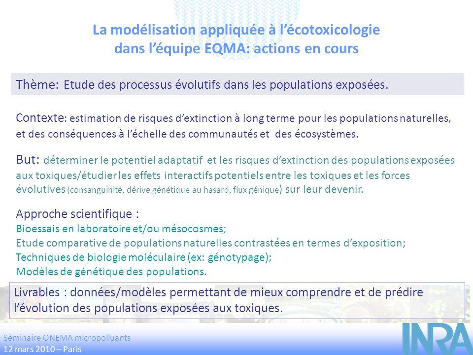 La modélisation appliquée à lécotoxicologie dans léquipe EQMA: actions en cours Thème: Etude des processus évolutifs dans les populations exposées. Bu