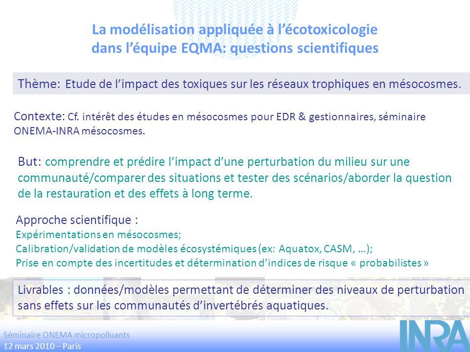La modélisation appliquée à lécotoxicologie dans léquipe EQMA: questions scientifiques Thème: Etude de limpact des toxiques sur les réseaux trophiques
