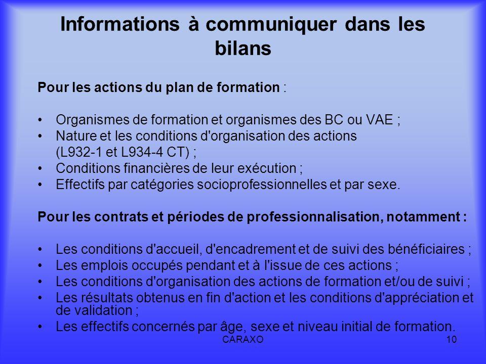 CARAXO10 Informations à communiquer dans les bilans Pour les actions du plan de formation : Organismes de formation et organismes des BC ou VAE ; Natu